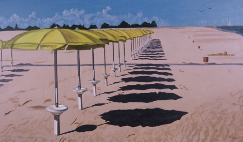 Umbrellas on the Adriatic, 36 x 60, 2001