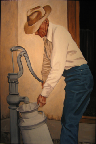 Heartland--Ernest at the Pump, 36 X 24, 2008