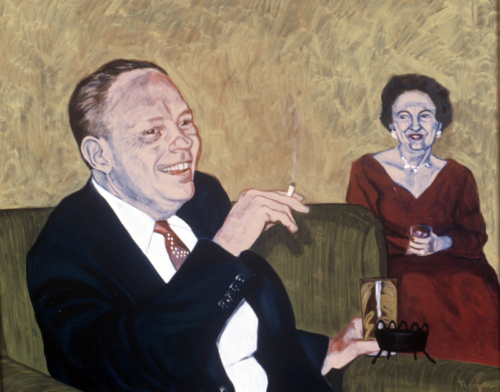 """Virginia: A Life - Cocktail Party, Joan, 2002, oil on canvas, 30""""x 18"""""""