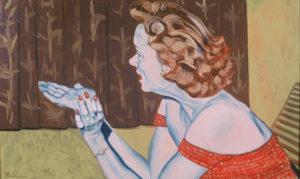 "Virginia: A Life - Cocktail Party, Gloria, 2002, oil on canvas, 30""x 18"""