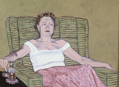 "Cocktail Party, Joan, 2002, oil on canvas, 30""x 18"""