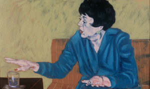 """Cocktail Party, Rosemary, 2002, oil on canvas, 30""""x 18"""""""