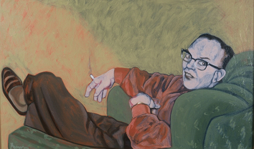"""Virginia: A Life - Cocktail Party, Wendell, 2002, oil on canvas, 30""""x 18"""""""