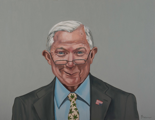 "Trumped!, Jeff Sessions, oil on canvas, 28 x 36"", 2017"