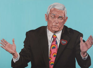 """Trumped!, Mike Pence, oil on canvas, 28 x 38"""", 2017"""