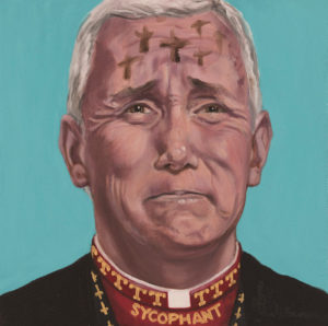 """Trumped!, Mike Pence II: Holy Roller, oil on canvas, 14 x 14"""", 2018"""