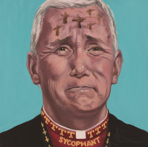 "Trumped!, Mike Pence II: Holy Roller, oil on canvas, 14 x 14"", 2018"