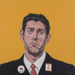 "Trumped!, Paul Ryan, oil on canvas, 30 x 30"", 2017"