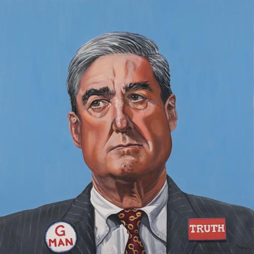 "Trumped!, Robert Mueller, oil on canvas, 30 x 30"", 2018"