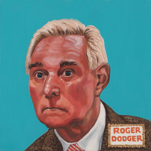 "Trumped!, Roger Stone, oil on canvas, 12 x 12"", 2018"