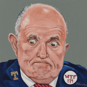 """Trumped!, Rudy Guiliani, oil on canvas, 12 x 12"""", 2018"""
