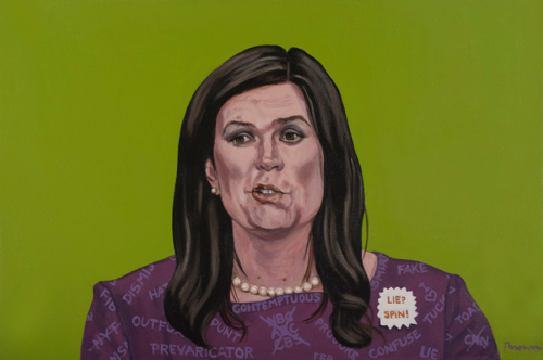 "Trumped!, Sarah Huckabee Sanders, oil on canvas, 24 x 36"", 2017"