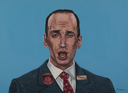 "Trumped!, Stephen Miller, oil on canvas, 22 x 30"", 2018"