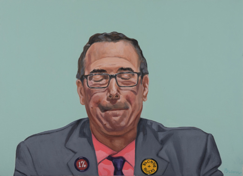 """Trumped!, Steve Mnuchin, oil on canvas, 22 x 30"""", 2017"""