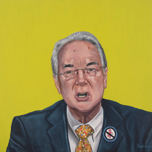 "Trumped!, Tom Price, oil on canvas, 24 x 24"", 2017"