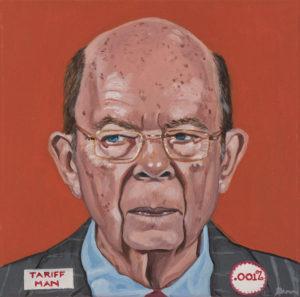 "Trumped!, Wilbur Ross, oil on canvas, 12 x 12"", 2018"