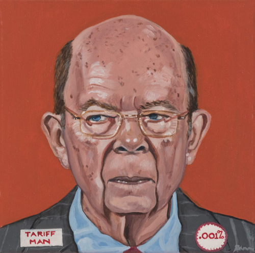 "Trumped!, Wilbur Ross, oil on canvas, 12 x 12"", 2018"