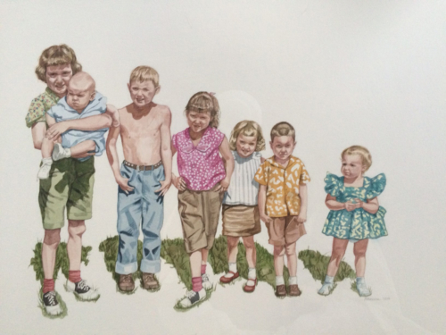 Cousins, 22 x 30, watercolor, 2015 cafe