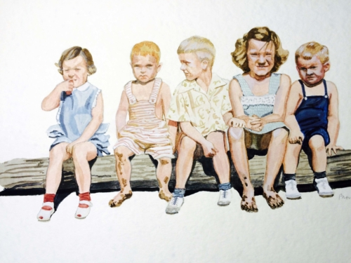 Cousins on a Log, 12 x 16, watercolor, 2015