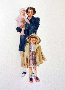 Family Girls, 12 x 16, water color, 2015